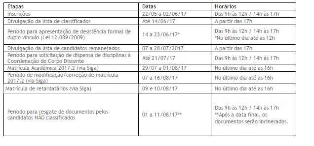 Processo extra vestibular 2017.2 Calendário