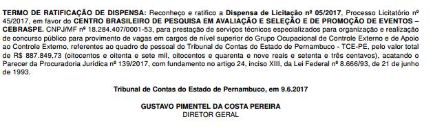 TCE-PE escolhe Cebraspe para organizar concurso 2017.